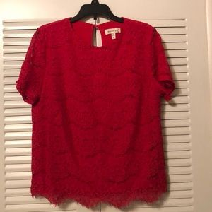 Striking Monteau red lacy blouse